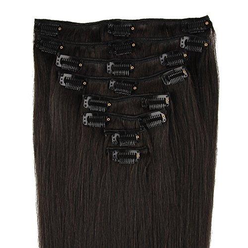 Beauty7 8 Clips Extensions de Cheveux Humains à Clip 100% Remy Hair 40 CM Couleur #1B Noir Naturel 120 Grams