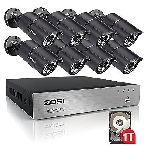 ZOSI 720p HD Système de Surveillance 8CH 720p DVR Enregistreur 1To HDD avec 8 Caméras de Surveillance 1.0MP en Métal Etanche, Code QR pour Accès par Smartphone en 3G / 4G / WiFi