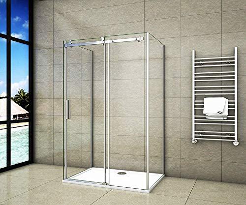 Aica Sanitär U-duschkabine 120x80x195cm U-Kabine Dusche 8mm NANO Sicherheitsglas ohne Duschtasse
