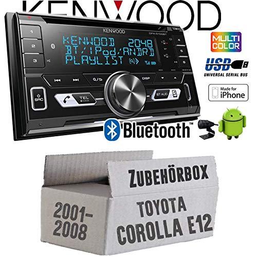 Toyota Corolla E12/120 - Autoradio Radio Kenwood DPX-5100BT - 2-DIN Bluetooth USB Apple Android Autoradio PKW KFZ Paket - Einbauzubehör - Einbauset