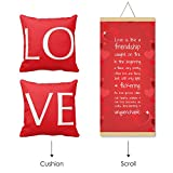 TYYC Birthday Gifts for Wife, Love Is Like A Friendship Love Scroll Greeting Card and Cushion Cover Gift Hamper for Girlfriend, Her| Birthday Anniversary