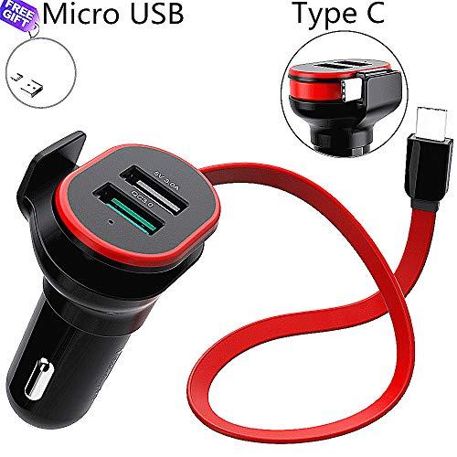 Quick charge 3.0 caricatore per auto con 2 usb porte ricarica rapida caricabatteria da auto alimentatore da auto per samsung iphone ipad ecc (con incassato type c cavo)