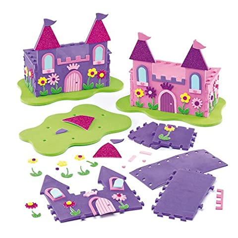 3D Princess Foam Castle Kits for Children to Make and Display (Pack of 2)