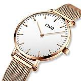 CIVO Damen Uhren Ultra Dünn Silm Minimalistisch Damenuhr Wasserdicht Kleid Armbanduhren Luxus Beiläufig Edelstahl Mesh Quarzuhr für Frau Lady Teenager Mädchen (Gold/Weiß)