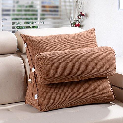 Sofa Kissen Kissen / Dreieck Kissen / Bett Kissen / Büro Taille Kissen Kissen / Bett Kissen Nackenkissen ( Farbe : Braun , größe : 60*20*50cm )