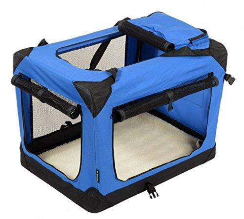 JESPET Deluxe Soft-Blau & Beige Hundekäfig, 3Türen mit Fleece-Matte und Speicherung Taschen. Erhältlich als 76,2cm 91,4cm & 106,7cm -
