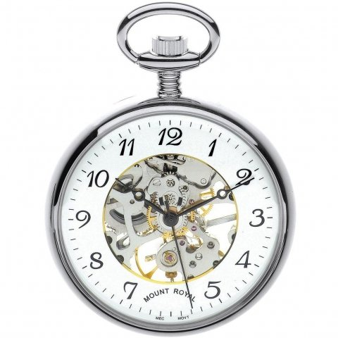 mount royal chrome plated mechanical open face pocket watch b3c/af