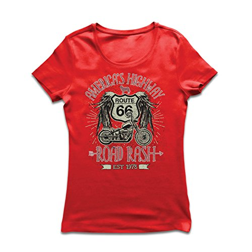 lepni.me Frauen T-Shirt Route 66, Amerikas Autobahn - Road Rash, Biker-Kleidung (Small Rot Mehrfarben) -