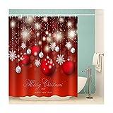 Knbob Duschvorhang Wasserabweisend Rote Weihnachtskugel Bunt Shower Curtain 180X200CM mit Duschvorhangringen Badezimmer Vorhänge