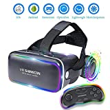Shfmx VR Headset con Telecomando, Occhiali 3D Virtual Reality Auricolare per Giochi VR & Film in 3D, Sistema oculistico per iPhone e Smartphone Android
