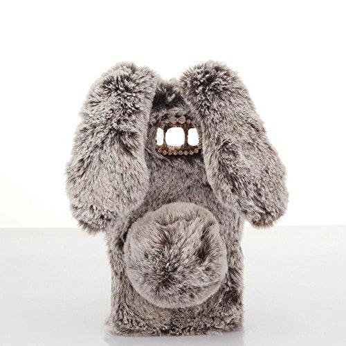 Schutzhülle für iPod Touch 6, Lovely Warm Handmade Bunny Furry Luxus Bling Kristall Strass Soft Beaver Rex Kaninchen Ohr Fell Schutzhülle für Apple iPod Touch 56. Generation, A Rabbit-Brown - Touch Furry 5 Fällen Ipod