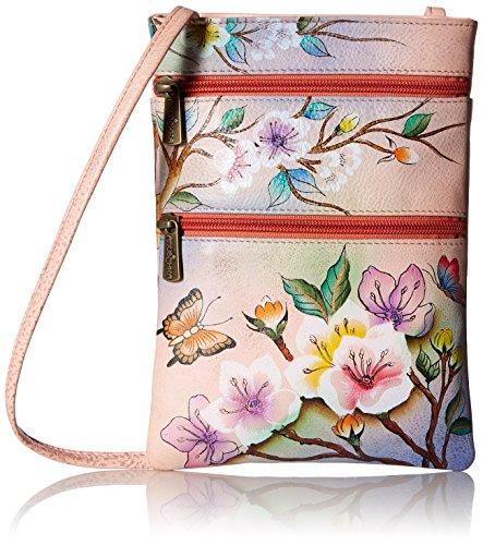 Anuschka handbemalte Ledertaschen, Schultertasche für Damen, Geschenk für Frauen, Handgefertigte Handtasche, Kleine Umhängetasche mit einem langen Riemen (Blumen, Japanese Garden 448 JPG) (Anuschka Umhängetasche)