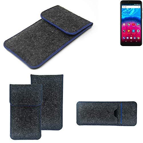 K-S-Trade® Filz Schutz Hülle Für -Archos Core 57S- Schutzhülle Filztasche Pouch Tasche Case Sleeve Handyhülle Filzhülle Dunkelgrau, Blauer Rand Rand