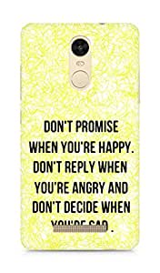 AMEZ dont promise when you are happy Back Cover For Xiaomi Redmi Note 3