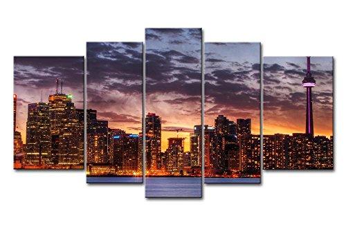 5Stück Wand Kunst Bild Toronto Skyline in Sunset Prints auf Leinwand The City Bilder Öl für Home Moderne Dekoration Print Decor für (Dekoration Toronto Halloween)