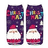 KPILP 1 Paar frauen 3D Cartoon Print Sneakersocken Lustige Weihnachten Baumwollsocken Crazy Cute Winter Warm Erstaunliche Neuheit Print Ankle Freizeitsocken,E