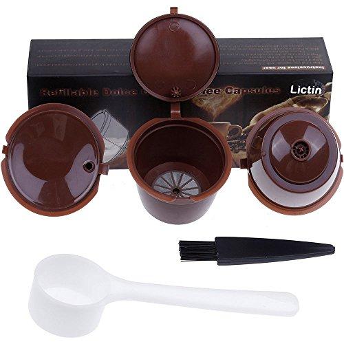 Lictin 3 Pack Cápsulas Filtros de Café Recargable Reutilizable para Cafetera Dolce Gusto...
