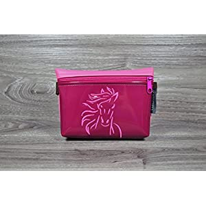 Edelzosse Bauchtasche Beere-Pink bestickt Lackkunstleder