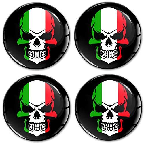 Biomar Labs 4 x 60mm 3D Adesivi in Silicone per Coprimozzo Cerchione Copricerchi Tappi Ruote Auto Tuning Bandiera Nazionale Italiana Italia Italy A 9060