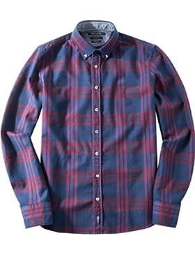 Marc O'Polo Herren Hemd Baumwolle & Mix Oberhemd Kariert, Größe: L, Farbe: Blau