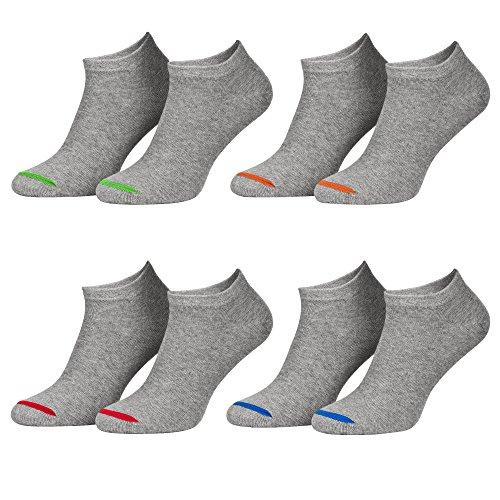 Piarini 39-42 8 Paar Sneaker Socken Sportsocken Baumwolle - Ohne Naht - Kurze Unisex Damen Herren grau 40 41
