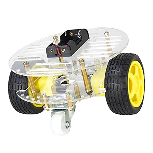 MagiDeal 2WD Mini Runde Doppel-Deck Smart Roboter Auto Chassis DIY Kit für Arduino