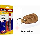 Com-Paint Scratch Remover Pen Kit for Tata Cars - Pearl White (With Keychain)