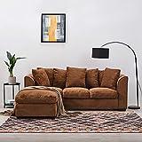 Anaelle Panana Canapé d'angle Sofa Moderne en Chenille 3 Places avec Repose-Pieds pour Salon, Bureau (Brun)