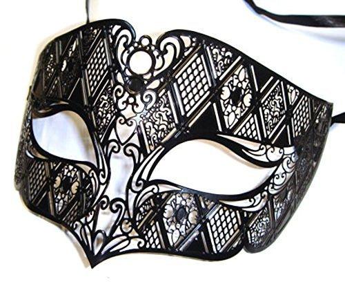 The Rubber Plantation TM 619219289498Herren Smoking Schwarz Venezianische Metall Filigran Masquerade Ball Party Augenmaske Ball, Unisex, ONE ()