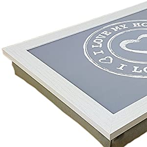 Knietablett mit Kissen Laptop Bett Tablett Notebook Unterlage Laptopkissen Lap Tray mit füllung Kissentablett Schosstablett Knieauflage Lapdesk Kniekissen (anthrazit)