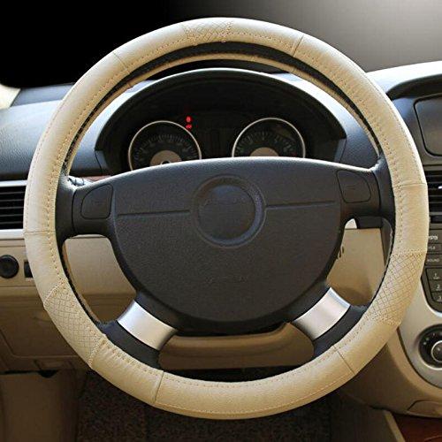 Hivel Lujo Cuero Genuino Funda Cubierta del Volante Universal Antideslizante Respirable Vehiculo Auto Coche Genuine Leather Car Steering Wheel Cover 38cm - Color Crema