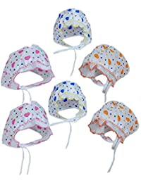 PEUBUD Babies Cotton Bonnets Caps (0-9 months, Pack of 6)