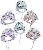 PEUBUD?Ÿ??? Infants Soft Cotton Printed Bonnets Cap(Multicolour, 0-6 Months) - Pack of 6