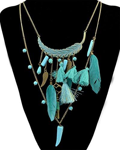 1d5c92b53480 Collar de bronce con diseño de plumas turquesa y cadena larga multicapas