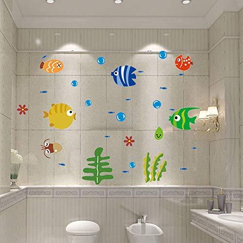 (MEIWALL Cute Fisch warme Glas Bad wasserdicht Fliesen Aufkleber Wandsticker Wandaufkleber für Kinder Kinderzimmer Schlafzimmer Wohnzimmer Küche Kinderzimmer Wand Kunst Dekor Aufkleber)