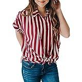 iHENGH Karnevalsaktion Damen Top Bluse Bequem Lässig Mode T-Shirt Frühling Sommer Blusen Frauen Kurzärmeliges, gestreiftes Krawatten für Blaouse Oberteile mit Knöpfen