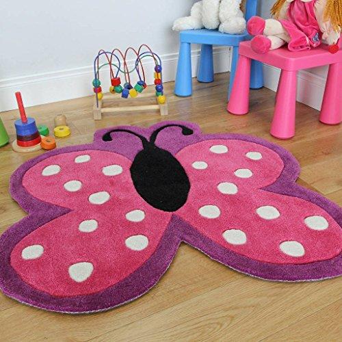 The Rug House Suave alfombra para niñas con diseño de mariposa rosada con lunares. Resistente al deshilachado. 90 x 90cm