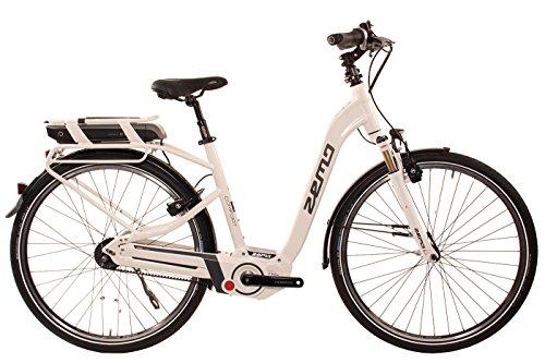 City E-Bike 28 Zoll - Zemo ZE-8R Elektrofahrrad weiß - Akkukapazität 400 WH, Riemenantrieb, 8-Gang Nabenschaltung mit Rücktritt