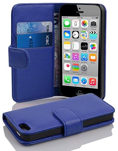 Cadorabo Apple iPhone 5C Etui de Protection Structure en Bleu CÉLESTE - Coque Protective Complète avec Fermoire Magnétique et Fente pour Cartes - Poche Folio Housse Portefeuille Case Cover