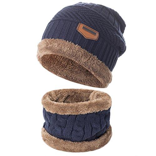 Yidarton Herren Wintermütze Winterschal Warm Beanie Strickmütze und Schal (Navy)