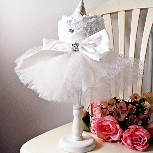 Bling Weiß Spitze Hund Puppy Luxus Schleife Kleid Pet Cat Tutu Rock Prinzessin Hochzeit Kleid Sommer Hund Chihuahua Kleidung Shirt Braut ()