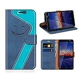 MOBESV Smiley Nokia 3 2018 Hülle Leder, Nokia 3 2018 Tasche Lederhülle/Wallet Case/Ledertasche Handyhülle/Schutzhülle für Nokia 3 2018, Dunkel Blau/Aqua