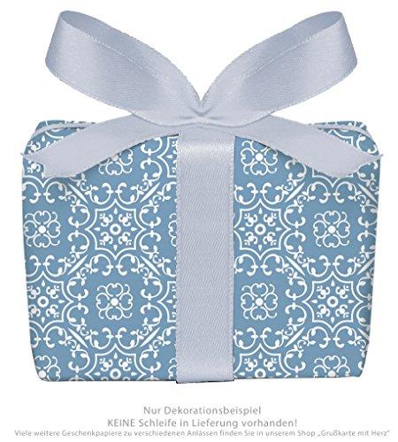 Lot de 5 feuilles de papier cadeau UNIVERSAL en bleu avec ornements pour toutes les occasions • Pour anniversaire, mariage, cadeaux de Noël, calendrier de l'Avent • Format : 50 x 70 cm