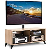 RFIVER Wood Media TV Stand Storage Console with Swivel Mount Height Adjustable for 32 42 50 55 60 65 inch Plasma LCD LED Flat or Curved Screen TVs Shelf Storage Cabinet,Oak,TW4001