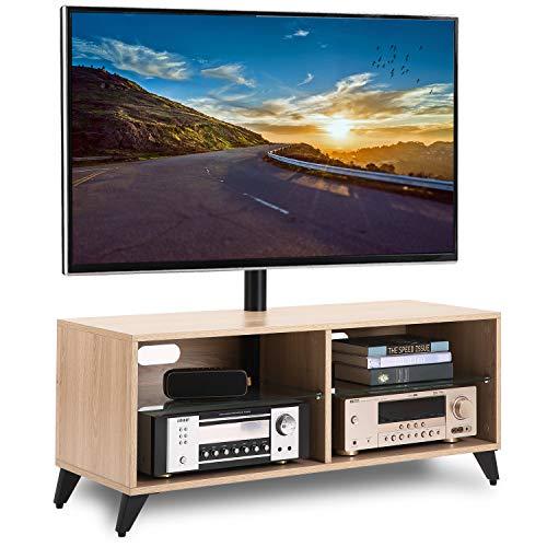 RFIVER Meuble TV Scandinave Cabinet Meuble de télévision en Bois avec Support Pivotant et Réglables en Hauteur pour télés Plats et Courbes de 32 à 65 Pouces Chêne TW4001