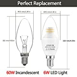 (3er Pack Warmweiß)LOHAS® 6W E14 C37 LED-Kerzenform, LED-Kerzenlampe , Ersatz für 60W Halogenlampen, 550LM, 3000K, 360°Abstrahwinkel, Nicht-Dimmbar, LED Kerzenleuchten, LED Leuchtmittel - 2