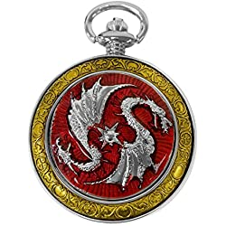 Celtic Pocket Watch Red Dragon Motif Roman Numerals with Chain Full Hunter Steampunk Cosplay PW-74