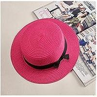 Sombrero Verano sencilla entre padres e hijos ocasionales de la playa del sombrero de paja Mujer del sombrero de Panamá señoras mujeres de la marca plana aleros del sombrero del arco del sombrero de p