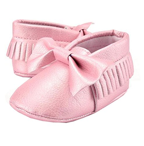 Lucky staryuan ® Baby Säugling Quaste Weich Sohle Leder Schuhe Schmetterling Kleinkind Schuhe (13cm, Rosa 2) Rosa 1