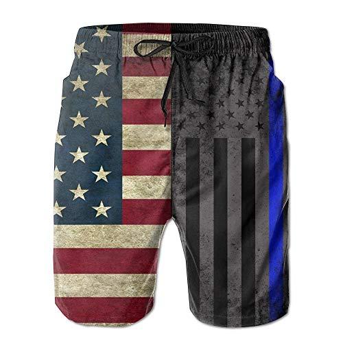 d7135c5670 Pillowcase shop American Thin Blue Line Flag Men's Swim Trunks Quick Dry Beach  Shorts Beach Surfing
